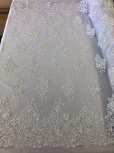 Load image into Gallery viewer, White Lace Fabric - Corded Flowers Embroidery With Sequins For Wedding Dress Bridal Veil Sold By The Yard