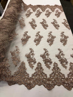 Beaded Fabric - Blush - Lace By The Yard Embridered Lace Wiht Beads And Sequins French Bridal Veil Wedding Decoration Home