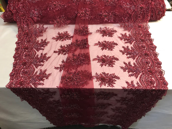 Beaded Fabric - Burgundy Bridal Wedding Decoration By The Yard Embroidered Beads Mesh For Dress Prom Fashion