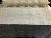 Beaded Fabric - Cream Bridal Wedding Decoration By The Yard Embroidered Beads Mesh For Dress Prom Fashion