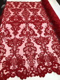 Lace Fabric - Embroidered Sequin Mesh Red Bridal Wedding Dress By The yard