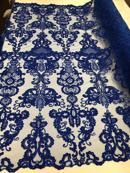 Lace Fabric - Embroidered Sequin Mesh Royal Blue Bridal Wedding Dress By The yard