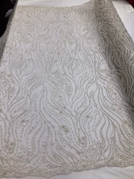 Shop Lace Fabric Beaded Fabric Ivory Lace Heavy Beads For Bridal Veil Mesh Dress Top Wedding Decoration By Half Yard
