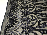 Navy 4 Way Stretch Fabric By The Yard Sequins Fabric Embroidery Power Mesh Dress Top Fashion Prom Wedding Lace Decoration