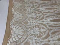 White 4 Way Stretch Fabric By The Yard Sequins Fabric Embroidery Nude Power Mesh Dress Top Fashion Prom Wedding Lace Decoration