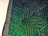 "Geometric 2 Way Stretch Sequins Fabric - Iridescent Green Geometric Diamond Design 2 Way Stretch Mesh 52-58"" Wide By The Yard"
