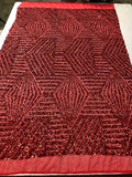 "Geometric 2 Way Stretch Sequins Fabric - Red Geometric Diamond Design 2 Way Stretch Mesh 52-58"" Wide By The Yard"