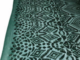 Sequins Fabric - Hunter Green 4 Way Stretch Embroider Power Mesh Dress Top Fashion Prom Wedding Decoration By The Yard