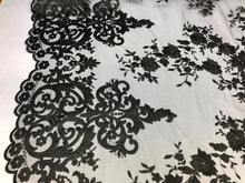 Load image into Gallery viewer, 2 Way Stretch Fabric By The Yard - BLACK - Embroider Lace Mesh Flower-Floral For Dress Bridal Veil Wedding Fabric Home Decoration