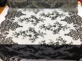 2 Way Stretch Fabric By The Yard - BLACK - Embroider Lace Mesh Flower-Floral For Dress Bridal Veil Wedding Fabric Home Decoration