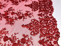 2 Way Stretch Fabric By The Yard - RED - Embroider Lace Mesh Flower-Floral For Dress Bridal Veil Wedding Fabric Home Decoration