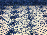 Shop Lace Fabric Royal Blue Hand Embroidered Flower 3D Floral For Bridal Veil Mesh Dress Top Wedding Decoration By The Yard