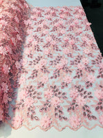 Shop Lace Fabric Bridal Wedding Lace Fabric Eyelash Sequins PINK Hand Embroidered Flower 3D Pearls With Sequins For Dress Top Decoration By The Yard