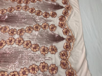 Sequins Fabric - Blush 4 Way Stretch Embroider Pearls Flower Power Mesh Dress Top Fashion Prom Wedding Decoration By The Yard