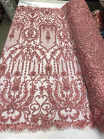 Beaded Fabric - By The Yard Dusty Rose Lace Heavy Beads For Bridal Veil Flower Mesh Dress Top Wedding Decoration