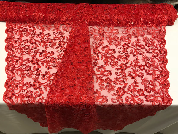 Red Lace Fabric - By THe Yard Bridal Veil Corded Flowers Embroidery With Sequins For Wedding Dress