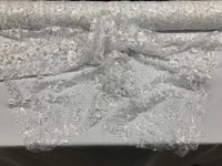 White Lace Fabric - By THe Yard Bridal Veil Corded Flowers Embroidery With Sequins For Wedding Dress