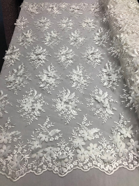 IVORY 3D Flower Embroider With Pearlson A Mesh Lace Wedding-Bridal By The Yard