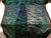 Jade 4 Way Stretch Fabric - Sequins Fabric Embroider Black Power Mesh Dress Top Fashion Prom Wedding Lace Decoration By The Yard