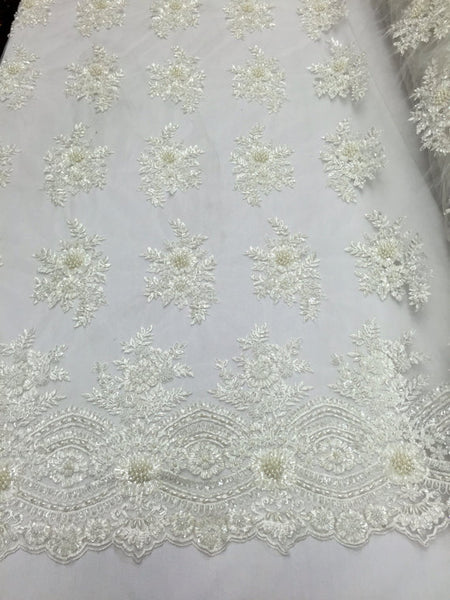 Beaded Fabric - Ivory Bridal Wedding Decoration By The Yard Embroidered Beads Mesh For Dress Prom Fashion