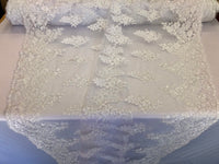 White Lace Fabric - Corded Flowers Embroidery With Sequins For Wedding Dress Bridal Veil Sold By The Yard