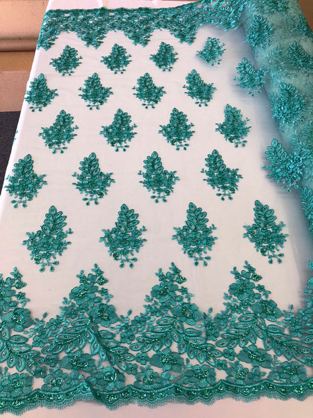 Teal Lace Fabric - Corded Flowers Embroidery With Sequins For Wedding Dress Bridal Veil Sold By The Yard