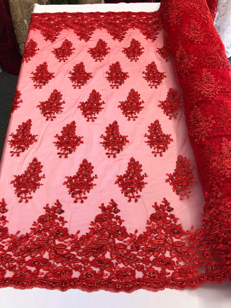 Red Lace Fabric - Corded Flowers Embroidery With Sequins For Wedding Dress Bridal Veil Sold By The Yard