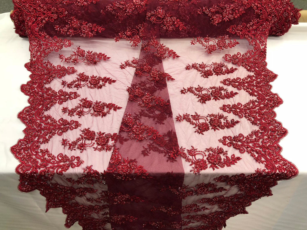 Beaded Fabric - Burgundy - Lace By The Yard Embridered Lace Wiht Beads And Sequins French Bridal Veil Wedding Decoration Home
