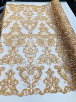 Lace Fabric - Embroidered Sequin Mesh Gold Bridal Wedding Dress By The yard