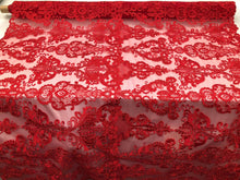 Load image into Gallery viewer, Lace Fabric - Embroidered Sequin Mesh Red Bridal Wedding Dress By The yard