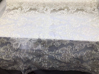 Lace Fabric - Embroidered Sequin Mesh Ivory Bridal Wedding Dress By The yard