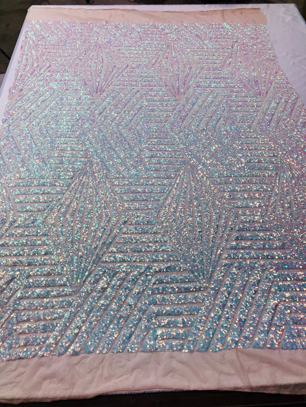 Geometric 2 Way Stretch Sequins Fabric - Iridescent Aqua Geometric Diamond Design 2 Way Stretch Mesh 52-58