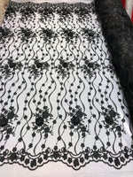 Shop Lace Fabric Black Hand Embroidered Flower 3D Floral For Bridal Veil Mesh Dress Top Wedding Decoration By The Yard