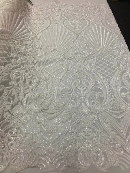 White Royalty 4 Way Stretch Fabric - Sequins Fabric Embroidered Power Mesh Dress Top Fashion Prom Wedding Bridal By The Yard