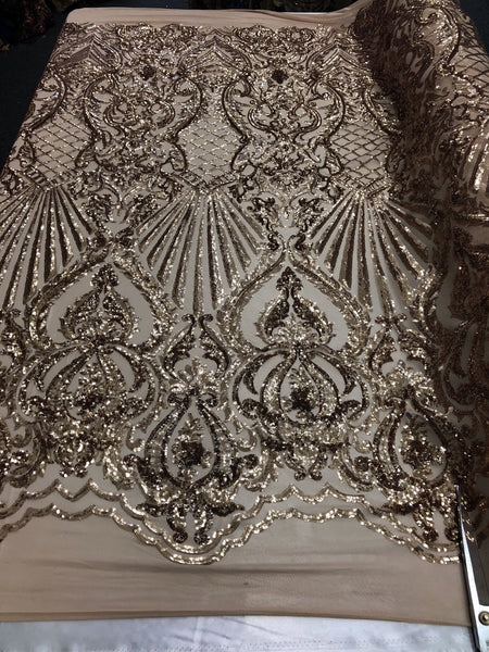 Gold Royalty 4 Way Stretch Fabric - Sequins Fabric Embroidered Nude Power Mesh Dress Top Fashion Prom Wedding Bridal By The Yard