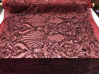 Burgundy Royalty 4 Way Stretch Fabric - Sequins Fabric Embroidered Power Mesh Dress Top Fashion Prom Wedding Bridal By The Yard
