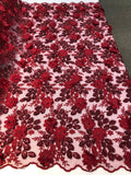 Shop Lace Fabric Bridal Wedding Lace Fabric Eyelash Sequins Burgundy Hand Embroidered Flower 3D Pearls With Sequins For Dress Top Decoration By The Yard