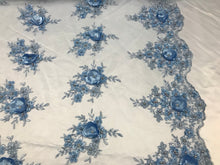 Load image into Gallery viewer, 3D Flower/Floral Baby Blue Beaded Fabric Diamonds with Pearl Fabric Wedding Dress Bridal Veil Fabric-Embroidered Flower Lace By The Yard