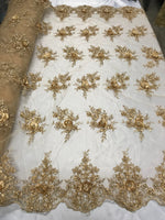 3D Flower/Floral DK Champagne Beaded Fabric Diamonds with Pearl Fabric Dress Bridal Veil Fabric-Embroidered Flower Lace By The Yard