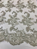 Silver 3D Floral-Flower Design Embroider With Crystal Sequins And Hand Beaded, With On A Mesh Lace-Dresses-Bridal-Nightgown By The Yard