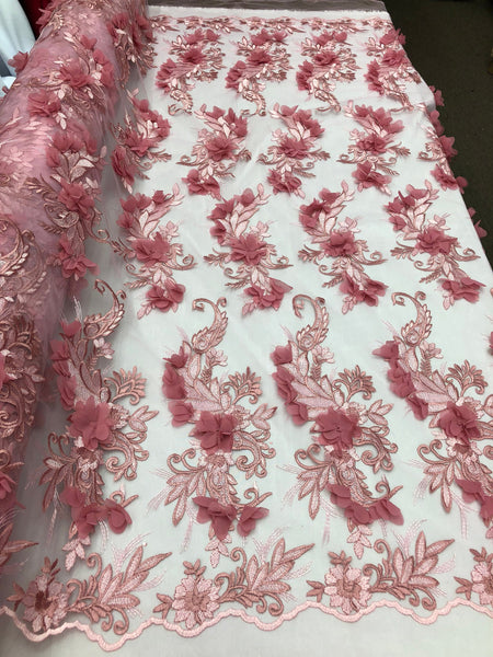 ROSE Lace Fabric 3D Floral Lace Fabric Corded Floral 3D Lace embroidery On Mesh Fabric Costume Prom Wedding Dress Gown By The Yard