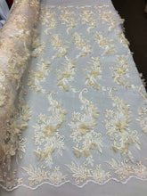 Load image into Gallery viewer, IVORY Lace Fabric 3D Floral Lace Fabric Corded Floral 3D Lace embroidery On Mesh Fabric Costume Prom Wedding Dress Gown By The Yard
