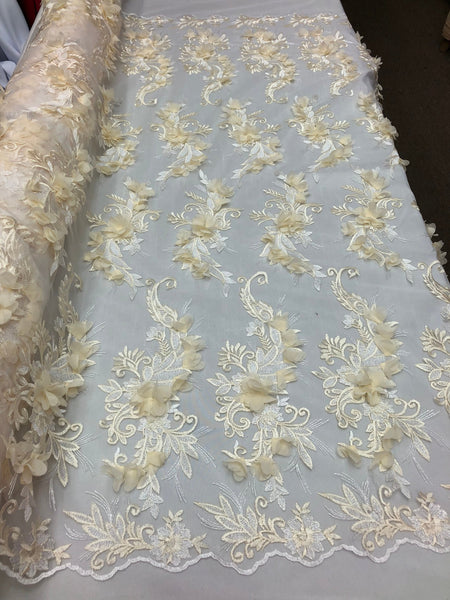 IVORY Lace Fabric 3D Floral Lace Fabric Corded Floral 3D Lace embroidery On Mesh Fabric Costume Prom Wedding Dress Gown By The Yard