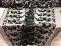 BLACK Multi-Color Lace Fabric 3D Floral Lace Fabric Corded Floral 3D Lace embroidery On Mesh Fabric Costume Prom Wedding Dress Gown By The Yard