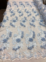 Baby Blue Lace Fabric 3D Floral Lace Fabric Corded Floral 3D Lace embroidery On Mesh Fabric Costume Prom Wedding Dress Gown By The Yard
