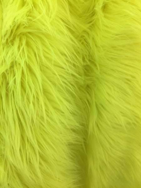 Fur Coats, Fur Clothing, Blankets, Bed Spreads, Throw Blanket Fake Fur Solid Mongolian Long Pile Fabric / Neon Green / Sold By The Yard