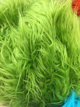 Load image into Gallery viewer, Fur Coats, Fur Clothing, Blankets, Bed Spreads, Throw Blankets Fake Fur Solid Mongolian Long Pile Fabric / Lime Green / Sold By The Yard