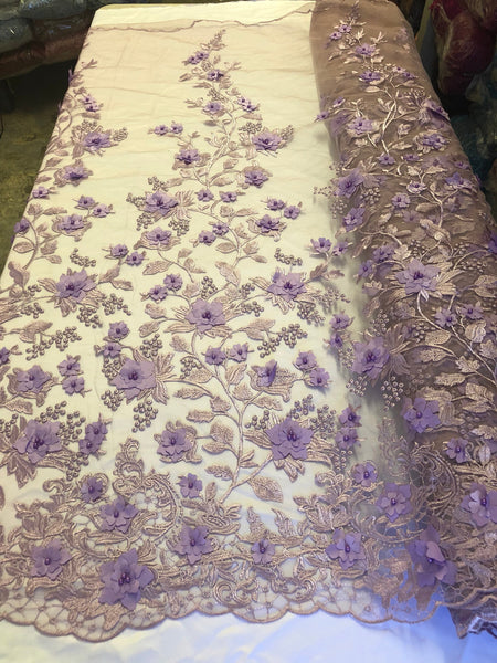 Bridal Lace Fabric - Hand Embroidered Flower 3D Pearls LAVANDER For Veil Mesh Dress Top Wedding Decoration By The Yard