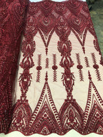 Lace Fabric Designs BURGUNDY Heavy Beaded Fabric Embroidered Beads With Sequins Mesh Lace For Bridal Veil/Wedding/Prom/Dress/Decorations By The Yard