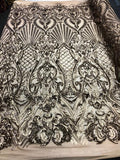 Mocha Matte Royalty 4 Way Stretch Fabric - Sequins Fabric Embroidered Power Mesh Nude Dress Top Fashion Prom Wedding Bridal By The Yard